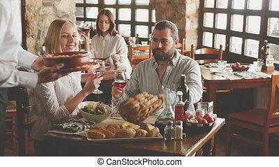 décontracté, restaurant, atmosphère, gens, confortable, dîneurs, rustique