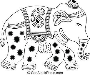 décoré, éléphant indien
