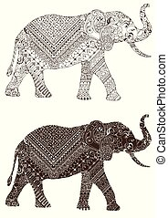 décoré, éléphant, mehndi