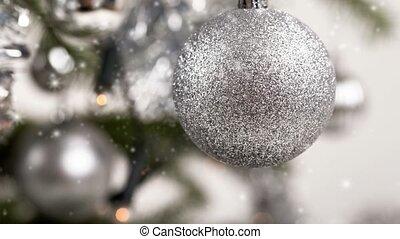 décoré, arbre, argent, noël
