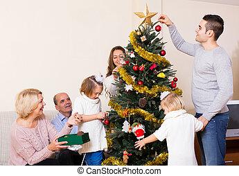 décoré, arbre généalogique, noël