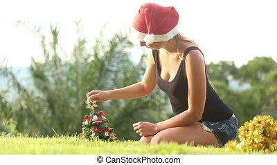 décoré, arbre, girl, astérisque, noël