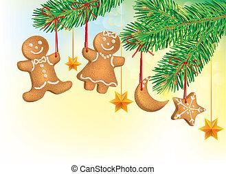 décoré, arbre, noël cookie