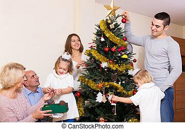 décoré, arbre, noël, famille