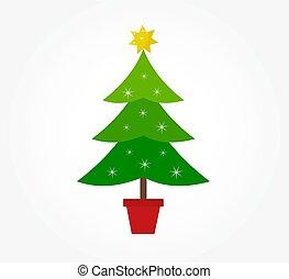 décoré, arbre, noël, icône
