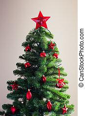 décoré, arbre, noël