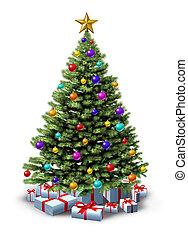décoré, arbre noël
