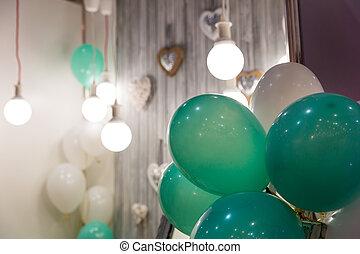 décoré, ballons, salle