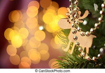 décoré, beau, arbre noël