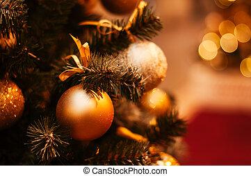 décoré, beau, arbre, noël