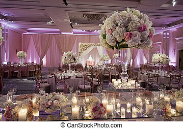 décoré, beautifully, salle bal, mariage