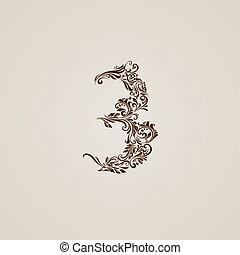 décoré, beige, chiffre, trois