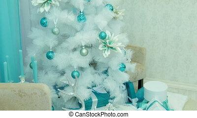 décoré, blanc, arbre, noël, gifts.
