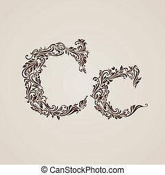décoré, c, lettre