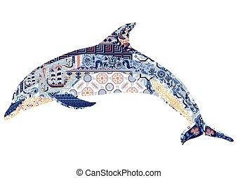 décoré, dauphin, ornement