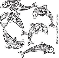 décoré, ensemble, dauphin