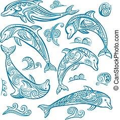 décoré, ensemble, dauphins