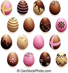 décoré, ensemble, oeufs, chocolat