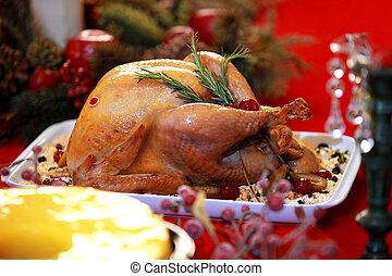 décoré, feuilles, candles., thanksgiving, automne, clair, poulet, rôti, dîner, servi, setting., turkey., table, dinde noël