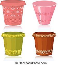 décoré, fleurir pots