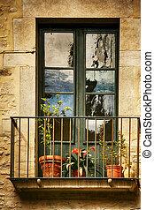 décoré, fleurs, frais, vendange, espagnol, fenetres, style, balcon