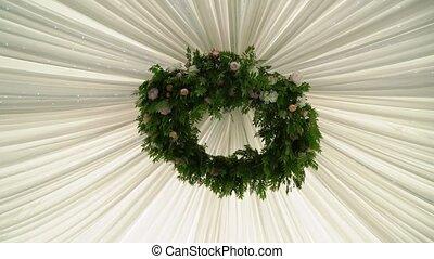 décoré, fleurs, plafond