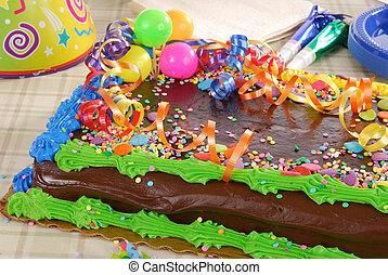 décoré, gâteau anniversaire