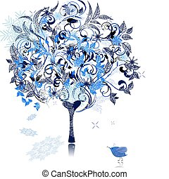 décoré, hiver arbre, neige