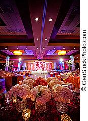 décoré, indien, salle bal, mariage