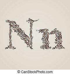 décoré, lettre n