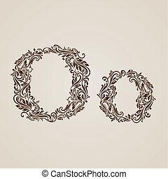 décoré, lettre, o