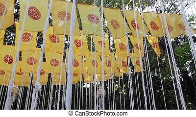 décoré, mérite, public, temple, drapeaux, thaï, prier, cérémonie