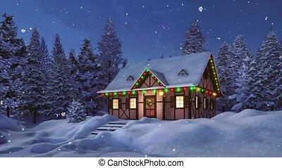 décoré, noël, maison, rustique, chute neige, nuit