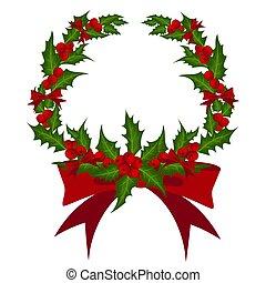 décoré, noël, ribbon., branche, couronne, houx