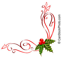 décoré, rubans, noël