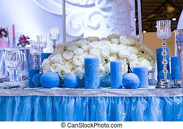 décoré, salle, mariage