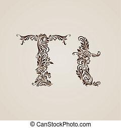 décoré, t, lettre