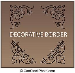 décor, éléments, conception, frontières, calligraphic