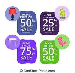 décor, éléments, salle, vente, élégant, meubles