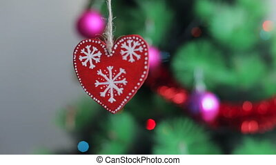 décor, arbre, noël, rouges