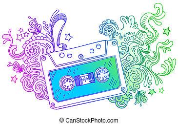 décor, art, main, vecteur, cassette, dessiné, ligne, audio