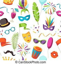 décor, carnaval, modèle, icônes, seamless, objets, fête, célébration