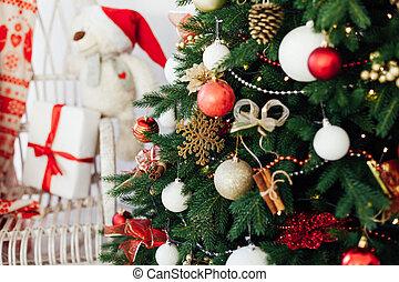 décor, carte postale, arbre, nouveau, noël, année, fond, intérieur