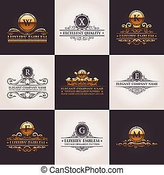 décor, elements., modèle, set., ornement, calligraphic, élégant, vecteur, luxe, vendange, logo
