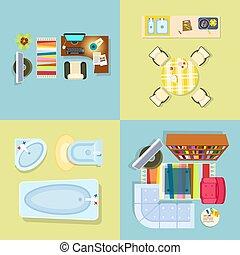 décor, ensemble, illustration, quatre, vecteur, intérieur