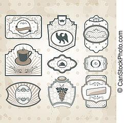décor, ensemble, vendange, étiquettes, éléments, conception, orné