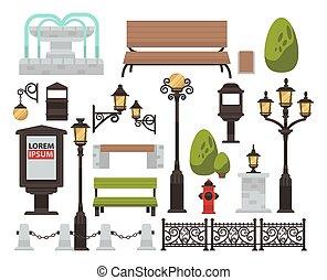 décor, extérieur, barrière, banc, buisson, rue, éclairage...