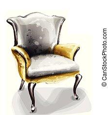 décor, fauteuil, aquarelle, conception, retro, vector., vendange, furnitures
