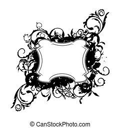 décor, illustration, élément, conception, floral, noir