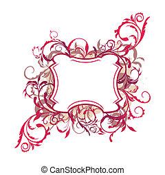 décor, illustration, élément, conception, frontière florale